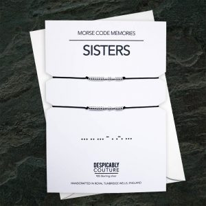 Sister bracelet, SISTERS Morse code bracelet, Sister gift, set of 2 sister bracelets, STERLING SILVER - Despicably Couture Collection