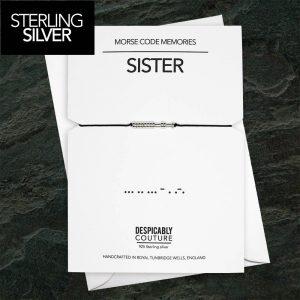 Sister Morse Code Bracelet, Sister Bracelet, Sister Birthday Gift, Minimalist Jewellery, Silver Sister Bracelet, Sister Wedding Gift