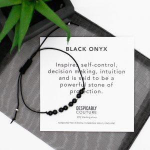 Black Onyx bracelet, 4mm beaded bracelet, black bead bracelet, sterling silver beads, minimal jewellery, unisex bracelet, Christmas gift