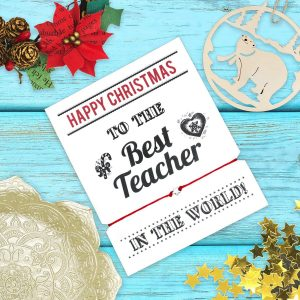 Christmas teacher wish bracelet, Best teacher in the world, Christmas Teacher Gift, For a special Teacher, Teacher wish bracelet, Under 5