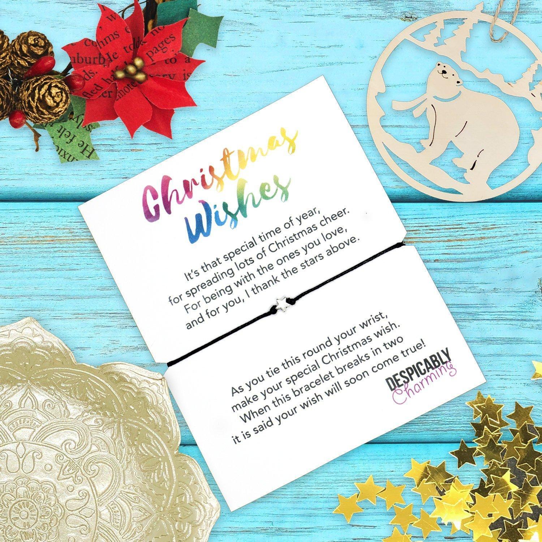 A Christmas Wish.Christmas Wish Bracelet A Christmas Wish Bracelet Holiday Gift Personalised Christmas Card Holiday Wish Bracelet Secret Santa Under 5