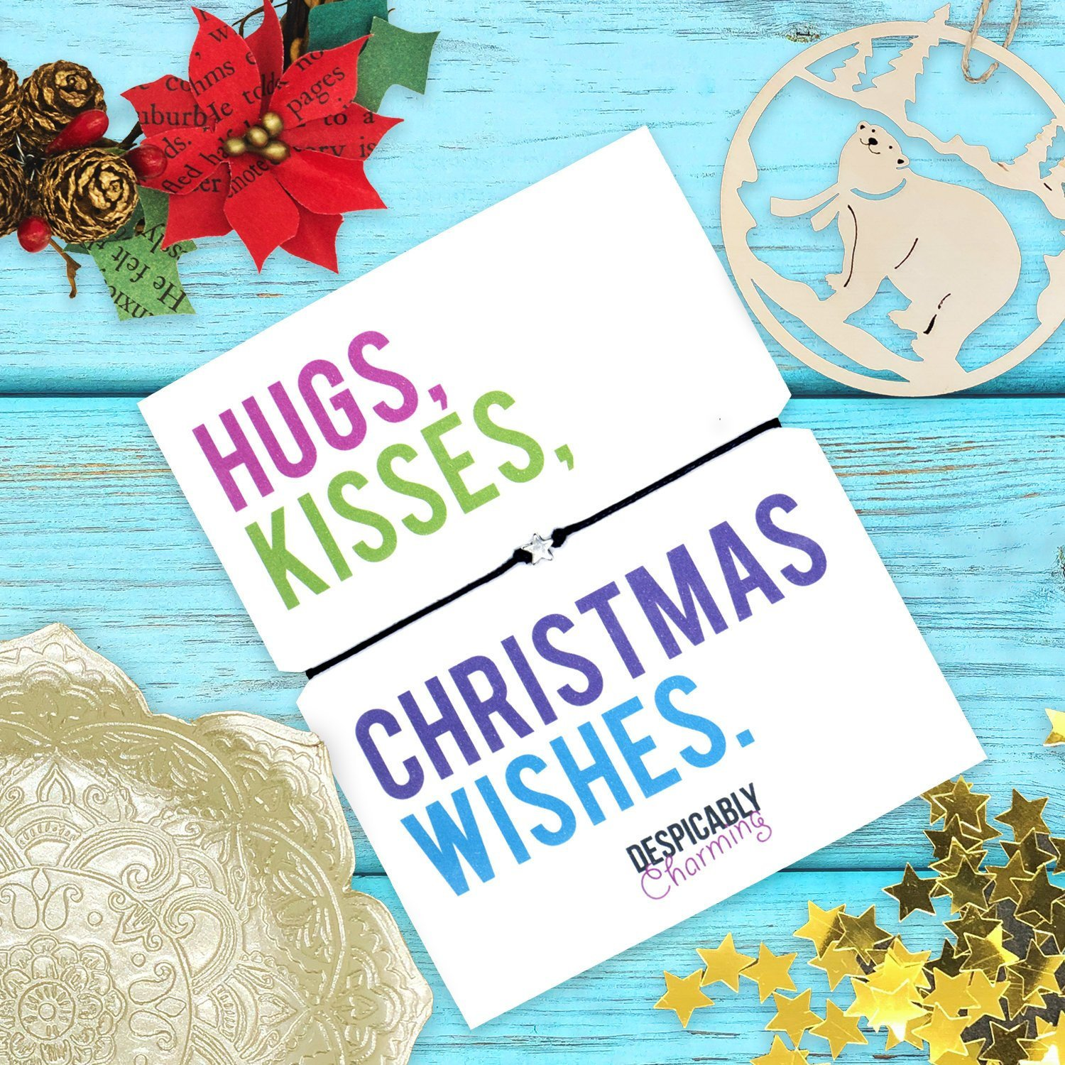 Christmas Wishes Card.Christmas Wish Bracelet Hugs Kisses And Christmas Wishes Holiday Gift Personalised Christmas Card Holiday Bracelet Secret Santa Under 5
