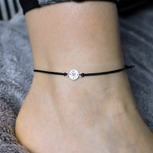 Compass Anklet, Compass Jewelry, Silver Compass Anklet, Personalized Anklet, Charm Anklet, Travel Anklet, Travel Gift, Compass Gift