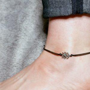 Lotus Anklet, Silver Anklet, Lotus Ankle Bracelet, Anklets for Women, Beach Anklet, Surf Anklet, Festival Anklet, Yoga Gift, Yogi Gift, Boho