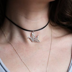 Origami Crane Necklace, Bird necklace, Origami Jewelry, mindfulness gift, Silver Bird Necklace, Bird Choker, Travel gift, Good Luck Gift