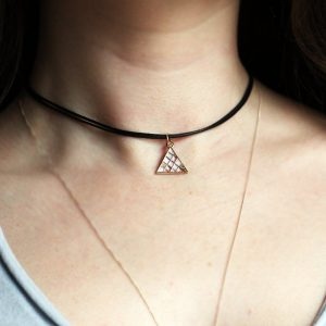 Triangle Choker collar, Triangle Necklace, Geometric Necklace, Black choker, Gold Choker, Boho Necklace, Gift for her, Mother's Day, Cord