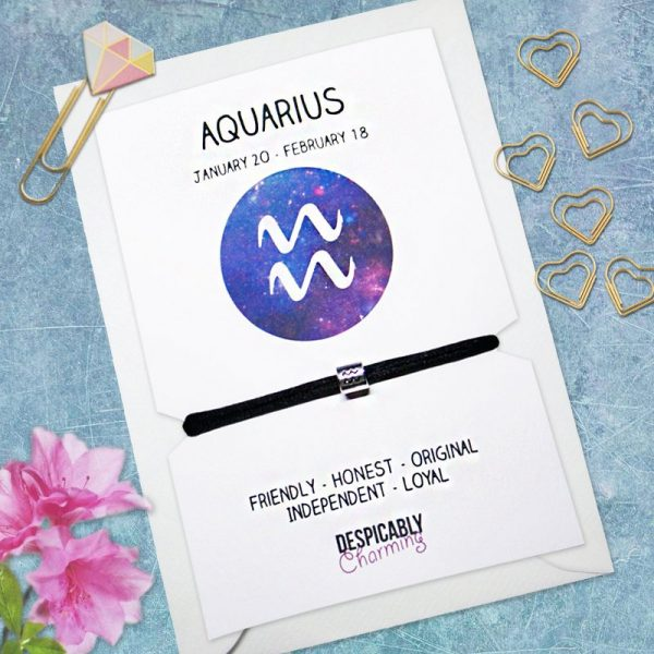 Zodiac bracelet - Aquarius, Horoscope, zodiac jewellery, personalised bracelet, Friendship bracelet, Birthday gift, Bridesmaid gift, BFF