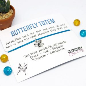 Butterfly friendship bracelet  - Butterfly charm - Inspirational quote - BFF bracelet - Graduation gift - Valentines card - Wish Charm