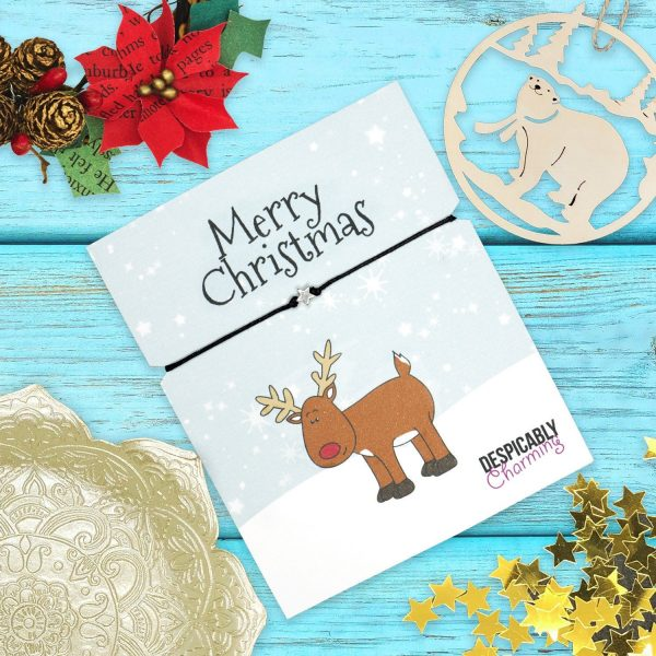 Christmas wish bracelet on Rudolph Xmas print card - perfect secret santa gift or stocking filler under 5 with FREE Personalisation