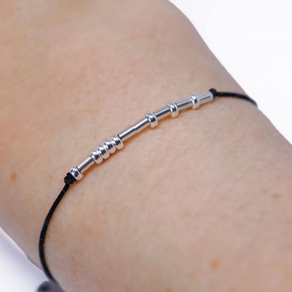 LUCK - Morse code luck bracelet - STERLING SILVER - Despicably Couture Collection