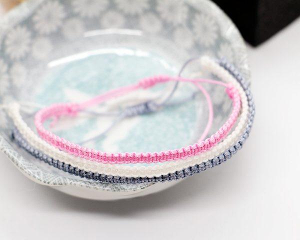 Pink marble friendship bracelet set