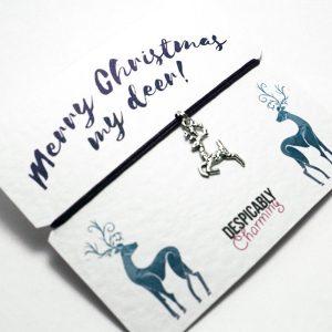 Reindeer Friendship bracelet. Christmas wish bracelet. Perfect stocking filler or Secret Santa. Personalised Xmas gift. Friendship bracelet
