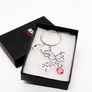 Personalised Bird Keychain with Birthstone & Initial Charms