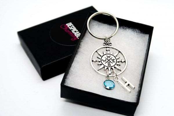 Personalised Compass Keychain with Birthstone & Initial Charms