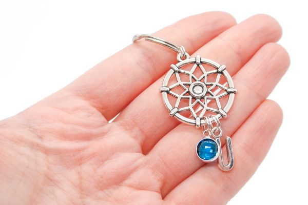 Personalised Dream catcher Keychain with Birthstone & Initial Charms
