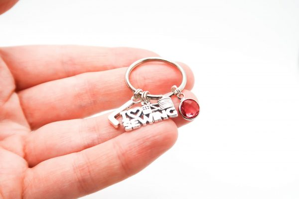 Personalised Love to Sew Keychain with Birthstone & Initial Charms