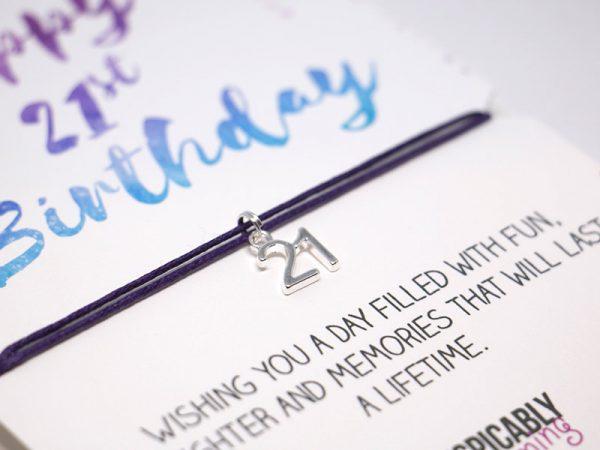 21st birthday Friendship Bracelet - Alternative birthday card -  BFF gift - party favours