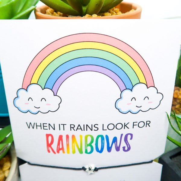 When it rains look for rainbow print and wish bracelet