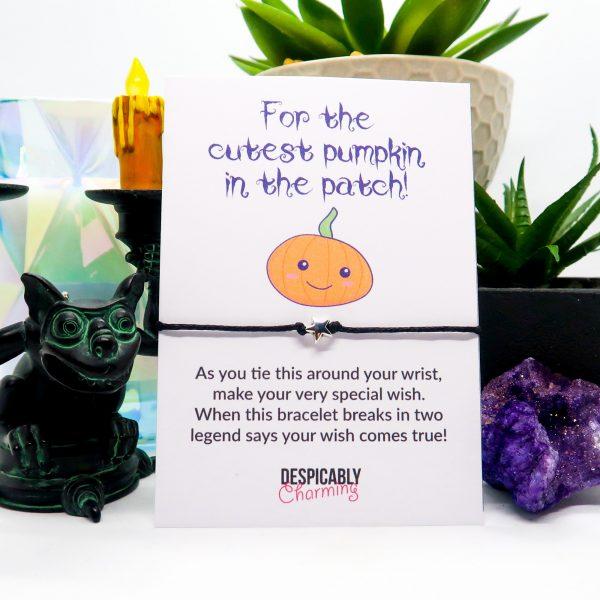 Cutest pumpkin in the patch Halloween wish bracelet & card