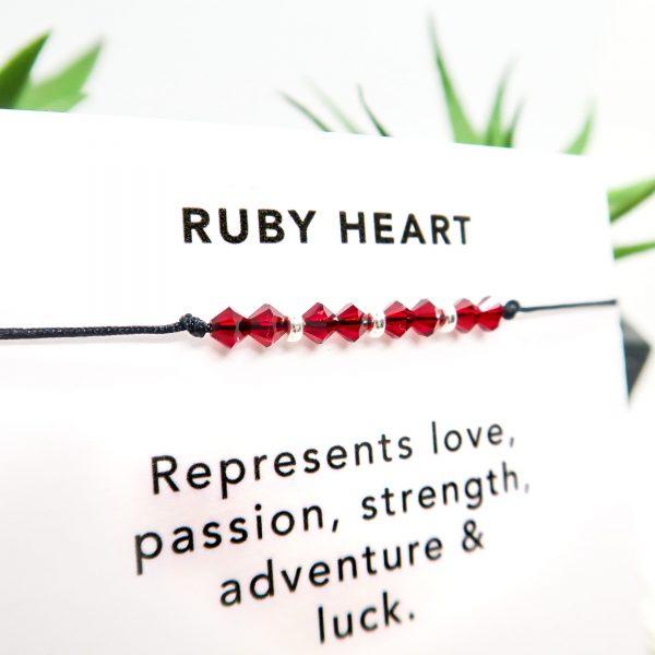 Red Crystal & Sterling Silver Bracelet