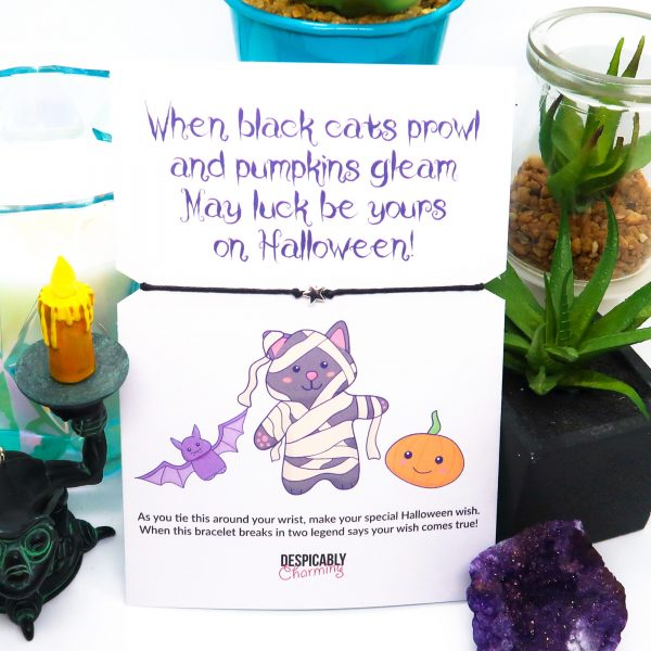 When Black Cats Prowl Halloween Card and Wish Bracelet