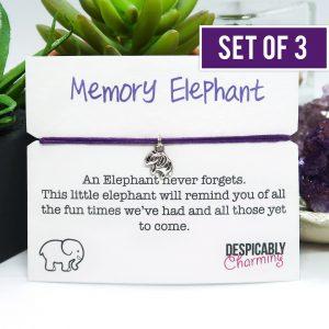 Set of 3 Memory Elephant Friendship Bracelets